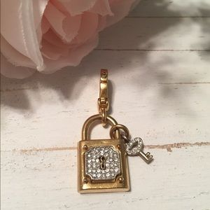 Juicy Couture lock and key charm w/ crystals.